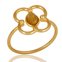 Yellow Rutile Art Deco 18K Gold Plated Sterling Silver Designer Ring
