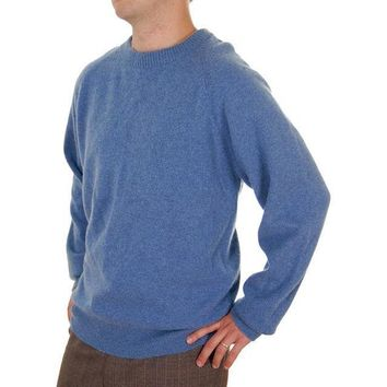 Vintage Mens Cashmere Pullover Sweater Snow Lotus Periwinkle  Size 46