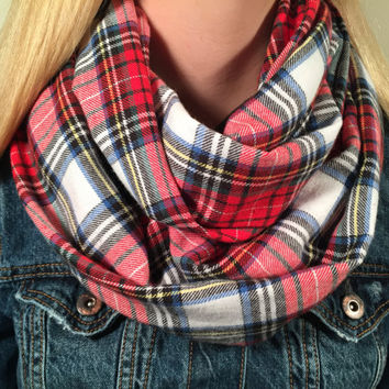Plaid Infinity Scarf Red Gray Black Christmas  Present, Holiday Gift