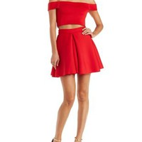 Red A.Peach Two-Piece Scuba Knit Hook-Up by Charlotte Russe