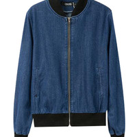 Front Zip Denim Jacket