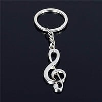 TOMTOSH 2016 Hot sale New key chain key ring silver plated musical note keychain for car metal music symbol key chains