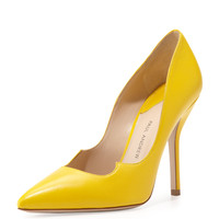 Leather Peaked-Vamp Pointed-Toe Pump, Yellow