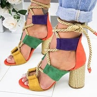 Selling Fashion Coloured Personal Fashion Fashion Fashion Ladies Large Sandals with Coarse heels and High heels Orange