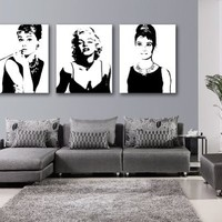 Espritte Art-Large Classic Marilyn Monroe and Audrey Hepburn Picture Painting on Canvas Print without Framed, Modern Home Decorations Wall Art set of 3 Each is 40*50cm #D03-336