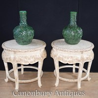 Canonbury - Pair Chinese Occasional Tables - Round Hand Carved Bone Table