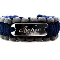 Custom 550 Paracord Bracelet with Personalized Engraved Stainless Steel ID Tag for Bridal Party Ring Bearer Groomsman Gift