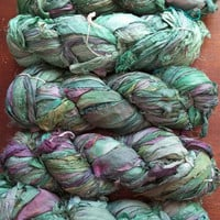 Recycled Sari Silk Ribbon Yarn, Green, Teal, Forest, 3.5 oz / 100 grams, 55 to 65 yards, Upcycled, Bulky, Crochet, Knit, Jewelry, Craft