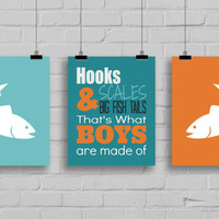 Fishing Decor - Hooks, Scales & Big Fish Tails Print - Boy's Room Decor, Fishing Nursery, Fishing Art, Fishing Typography, Set of 3 Prints
