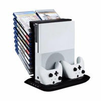 For Xbox One Disk Storage Tower with Console Cooling Fan Cooler and 2 Controller Charging Dock For Xbox One Slim Xbox One S Fans