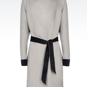 Armani Collezioni Women Single Breasted Coat - CLASSIC WOOL COAT WITH BELTED WAIST Armani Collezioni Official Online Store