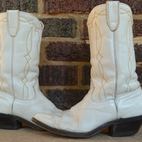 Vintage Country Western White Leather Rocker Women's Cowboy Boots, Women's 7