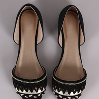 Qupid Nubuck Braid And Chain Pointy Toe D Orsay Flat