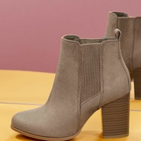Side Gore Almond Toe Stacked Heel Ankle Booties