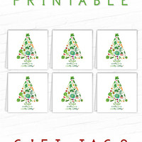 Printable Christmas Gift Tags, Unique Gift Tags, Healthy Holidays Gift Tags, Food Gift Labels, Vegetable Hang Tags, Vegan, Vegetarian Tags