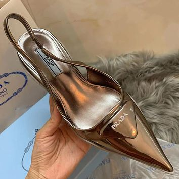 PRADA new solid color patent leather sandals ladies pointed high heels Gold