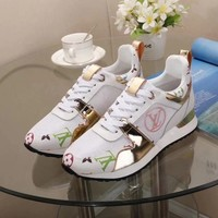 Floral Printed LV LOUIS VUITTON Leather Shoes Sneaker