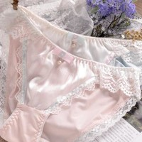 100% Real Photos M  L XL XXXL 3XL Plus Size Lovely Cute Lolita Kawaii Princess Sexy Lace Pearls Bow Panties Underwear Brief  204