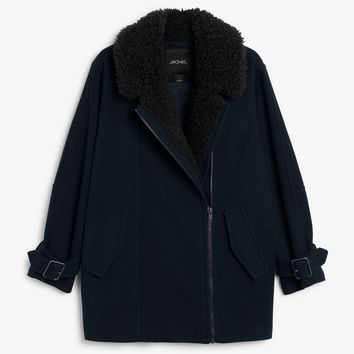Monki   Jackets & coats   Coat with faux shearling collar