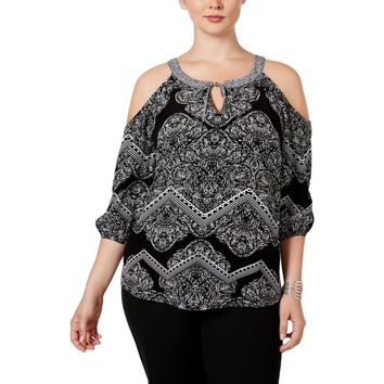 INC Womens Plus Paisley Gauze Casual Top