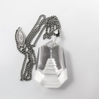 Art Deco Rock Crystal Pendant Necklace, Japanese Reverse Carved Intaglio Pagoda, Sterling Silver 1940s Rock Crystal Jewelry