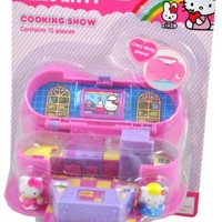 Sanrio Hello Kitty 15 Pieces Carry Along Playset with Hello Kitty and Fifi Figures, Toaster, Microwave, Blender, Crock with Tools, Bowl, Standing Camera, Two Magic Tables, Two Cakes and Two Platforms