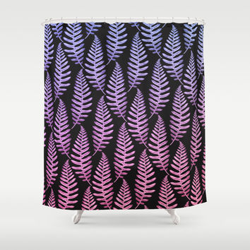 Multi Color Leaves (Black) Shower Curtain by Heart Of Hearts Designs
