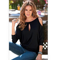 2016 Fashion Sexy Strapless wearing Long Sleeved Women T-shirt and Front and back two wear O-neck Female T-shirt Plus Size