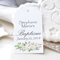 Baptism Favor Classic Personalized Hang Tags Religious Tag Cross Baptism Tags White Peonies Floral Tags