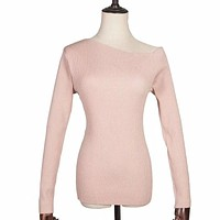 Unique Women Oblique Shoulder Long-sleeve Solid Color Knitwear