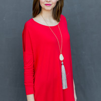 Long Sleeve Round Neck Piko Tunic in Red