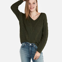 Cable Knit Slouch Back Sweater