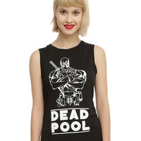 Marvel Deadpool Line Art Girls Muscle Top