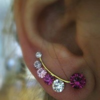 Ear Sweep Wrap - Cuff Earring with Swarovsky - Gold Filled - Pinky2