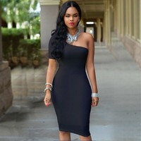Sexy Dress Club Women Clothing Party Dresses Body con One-Shoulder Sundress Red White Black Summer Dress