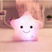 Colorful Smile Star Flashing Pillow Glow LED Luminous Light Pillows Cushion Soft Relax Best Gift 5 Colors