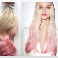 Pastel Ombre Hair Extensions, Platinum Blonde and Pastel Pink Hair, Blonde Hair Extensions, Pink Hair, Clip In Human Hair Extensions,20""