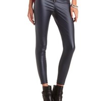 Zip-Up Coated High-Waisted Skinny Pants by Charlotte Russe - Charcoal