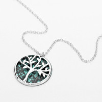 Patina Tree Of Life Silver Disc Necklace