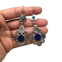 Vintage Afghan Turkmen Tribal Lapis Lazuli Teardrop Boho Bib ATS Earrings, TE11