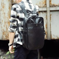 Fashion PU Leather Knapsack Male Computer Bag School Bags Vintage Leather Rucksack Men Backpack