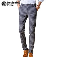 Men Plaid Casual Pants New Fashion Men Dress Pants Slim Fit Trousers For Men