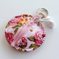 Earbud Holder / Pink Coin Pouch / Pink Floral Coin Purse / Roses / Pink Rose Accessories / Earbud Case / Ear Bud Holder / Small Pouch