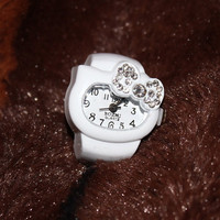 Cute Hello kitty ring watch with bow rhinestones by occreations