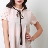 Semi-Sheer Tie Ruffle Neck Top