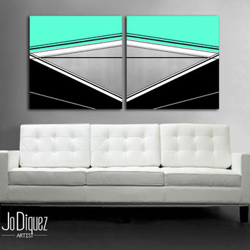"Customizable! Original abstract painting. 24x50"" Canvas art. Modern wall art. Large painting. Minimalist geometric art. Mint painting"