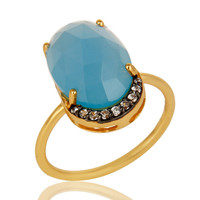 18K Gold Vermeil Sterling Silver Dyed Blue Chalcedony Prong Set Stacking Ring
