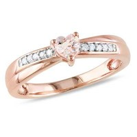 4.0mm Heart-Shaped Morganite and Diamond Accent Promise Ring in Rose Rhodium Plated Sterling Silver - View All Rings - Zales