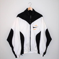 90s Nike track jacket black + white unisex athletic windbreaker large