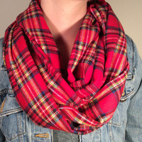 Handmade Infinity Scarf Plaid Flannel - Double Layer Super Warm!  Cream, Red Tartan,Christmas Gift